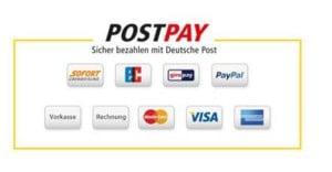 Die unterschiedlichen Zahlungsmethoden, mit denen Postpay genutzt werden kann.